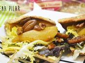 Sándwich peras asadas sidra, nueces pecanas queso