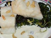 Bacalao confitado espinacas, piñones crema idiazabal