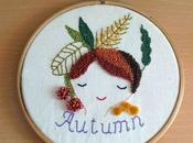 Patrón gratuito bordado ruso: Otoño Free punch needle embroidery pattern: September