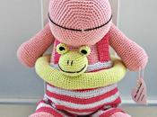 Hipopótamo ganchillo color rosa