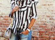 Autumn must; ruffled striped blouse.-