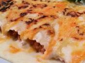 Canelones carne, calabacín quesos