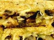 Sándwich vegetariano champiñones, cebolleta queso