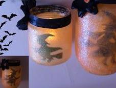 Como hacer lampara halloween botes cristal reciclados