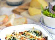 Ñoquis gratinados queso manchego espinacas