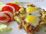 Huevos codorniz molde patatas, beicon champiñones