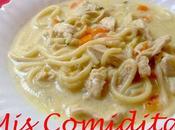 Sopa cremosa pollo pasta