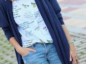 Cardigan largo camisa estampado letras