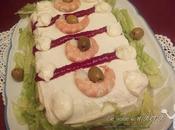 Pastel langostinos salmón ahumado