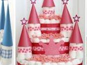 Ideas cómo hacer castillo pañales para baby shower