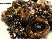 Risotto arroz negro gambones calamar
