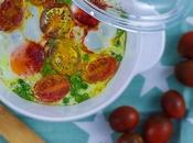 Huevos guisantes tomatitos cherry
