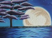 Cuadro resplandor luna medianoche pintado oleo
