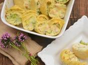 Conchiglioni rellenos pollo Alfredo brócoli