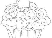 Cuatro lindos dibujos cupcakes para colorear imprimir