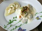 Bacalao mayonesa pera pistachos