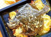 Rodaballo horno sobre lecho patatas cebolla