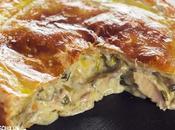 Receta pastel pollo champiñones hojaldre. Cocina británica
