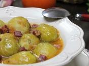 RECETA Coles bruselas tomate jamón