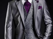 Traje novio gris metalizado cuello raso negro