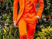 Traje italiano medida naranja raso algodon