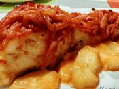 Bacalao asado cebolla pimentón