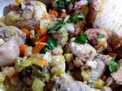 Pollo estofado verduras salsicce alle verdure