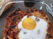 Huevos plato bacon champiñones