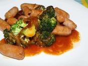 Receta salteado salchichas brócoli Teriyaki