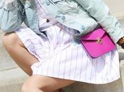 Vestido rayas bolso frambuesa