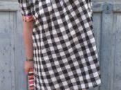 vestido vichy escote bardot