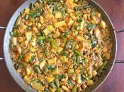 Paella paella) pulpo, verduras patata