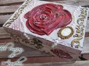 Decorar caja madera relieves, decapado stencil