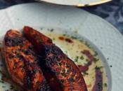 Crema calabacin salmon plancha