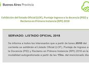Exhibición Listado Oficial Ingreso Docencia 2017/2018 PciaBA