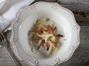 Tallarines espárragos blancos carbonara coco
