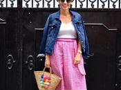 Pink vichy skirt outfit