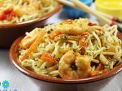 Noodles verdura langostinos Thermomix