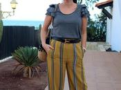 Mustard striped trousers