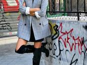 blazer cuadros mini smoking falda botas altas