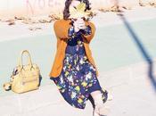 Vestido midi flores cardigan mostaza