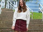 Outfit otoño falda granate
