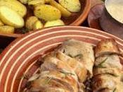 Solomillo cerdo patatas horno salsa setas