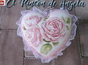 Corazon shabby chic decorado decoupage para regalar valentin