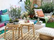 Terraza decorada muebles, textiles accesorios IKEA