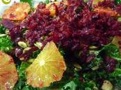 Ensalada kale, semillas naranja sanguina