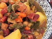 Potaje verduras hojas remolacha, judías rojas, garbanzos seitán