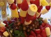 Brochetas persimón frutas fondue chocolate