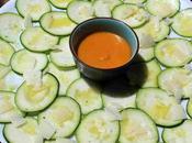 Carpaccio calabacin, parmesano salsa romesco