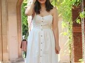 Vestido blanco corona flores para verano